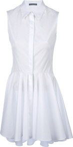 Sleeveless Shirt Dress - style: shirt; length: mid thigh; neckline: shirt collar/peter pan/zip with opening; fit: tailored/fitted; pattern: plain; sleeve style: sleeveless; predominant colour: white; occasions: casual, evening; fibres: cotton - 100%; hip detail: soft pleats at hip/draping at hip/flared at hip; back detail: longer hem at back than at front; sleeve length: sleeveless; texture group: cotton feel fabrics; pattern type: fabric