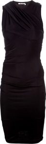 Knit Drape Dress - fit: tight; pattern: plain; sleeve style: sleeveless; style: bodycon; bust detail: ruching/gathering/draping/layers/pintuck pleats at bust; predominant colour: black; occasions: casual, evening, work; length: on the knee; fibres: viscose/rayon - stretch; neckline: crew; sleeve length: sleeveless; texture group: jersey - clingy; pattern type: fabric