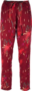 Printed Trouser - pocket detail: pockets at the sides; waist detail: belted waist/tie at waist/drawstring; waist: mid/regular rise; predominant colour: burgundy; occasions: casual, evening, holiday; length: ankle length; fibres: polyester/polyamide - 100%; texture group: cotton feel fabrics; fit: straight leg; pattern type: fabric; pattern size: small & light; pattern: patterned/print; style: standard