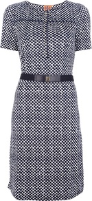 Printed Dress - style: shift; neckline: round neck; fit: tailored/fitted; pattern: polka dot; waist detail: belted waist/tie at waist/drawstring; bust detail: buttons at bust (in middle at breastbone)/zip detail at bust; secondary colour: white; predominant colour: navy; occasions: casual, work; length: on the knee; fibres: silk - 100%; sleeve length: short sleeve; sleeve style: standard; texture group: structured shiny - satin/tafetta/silk etc.; pattern type: fabric; pattern size: small & busy