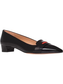 Loire Court Shoes, Black - secondary colour: true red; predominant colour: black; occasions: casual, evening, work; material: leather; heel height: mid; embellishment: snaffles; heel: block; toe: pointed toe; style: courts; finish: patent; pattern: plain