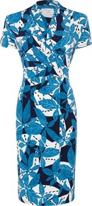 Isabella Dress, Leaves Blue - style: faux wrap/wrap; length: below the knee; neckline: v-neck; fit: tailored/fitted; secondary colour: white; predominant colour: diva blue; occasions: casual, work, occasion; fibres: viscose/rayon - 100%; sleeve length: short sleeve; sleeve style: standard; trends: statement prints; pattern type: fabric; pattern size: big & busy; pattern: patterned/print; texture group: jersey - stretchy/drapey