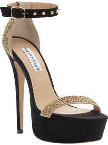 Reality Platform Heels, Black/Gold - secondary colour: stone; predominant colour: black; occasions: evening, occasion; material: leather; embellishment: crystals; ankle detail: ankle strap; heel: stiletto; toe: open toe/peeptoe; style: strappy; trends: metallics; finish: plain; pattern: plain; heel height: very high