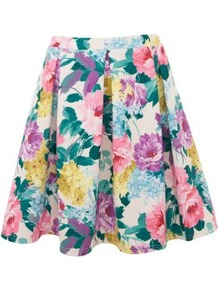 White Floral Skater Skirt - length: mid thigh; style: full/prom skirt; fit: loose/voluminous; waist: high rise; secondary colour: white; occasions: casual, evening, holiday; fibres: viscose/rayon - stretch; hip detail: structured pleats at hip; predominant colour: multicoloured; trends: high impact florals; pattern type: fabric; pattern size: big & busy; pattern: florals; texture group: other - light to midweight