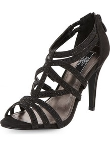 Dp Occasion Black Caged Gem Sandals - predominant colour: black; occasions: evening, occasion; material: suede; heel height: high; embellishment: crystals; ankle detail: ankle strap; heel: stiletto; toe: open toe/peeptoe; style: strappy; finish: plain; pattern: plain