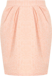 Pink Jacquard Skirt - length: mid thigh; style: tulip; fit: tailored/fitted; waist: high rise; predominant colour: pink; occasions: evening, work; fibres: polyester/polyamide - stretch; hip detail: structured pleats at hip; texture group: ornate wovens; trends: volume; pattern type: fabric; pattern: florals
