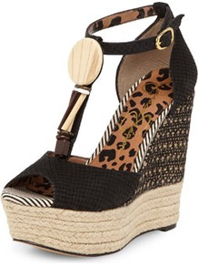 Jessica Simpson Black Beaded Wedges - secondary colour: ivory; predominant colour: black; occasions: casual, evening, holiday; material: fabric; heel height: high; embellishment: beading; ankle detail: ankle strap; heel: wedge; toe: open toe/peeptoe; style: standard; finish: plain; pattern: patterned/print