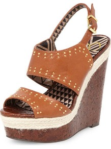 Jessica Simpson Tan Leather Sandal Wedges - predominant colour: tan; occasions: casual, evening, holiday; material: leather; heel height: high; embellishment: studs; ankle detail: ankle strap; heel: wedge; toe: open toe/peeptoe; style: standard; finish: plain; pattern: plain