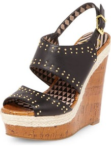 Jessica Simpson Black Leather Sandal Wedges - predominant colour: black; secondary colour: black; occasions: casual, occasion, holiday; material: leather; heel height: high; embellishment: studs; ankle detail: ankle strap; heel: wedge; toe: open toe/peeptoe; style: standard; finish: plain; pattern: plain
