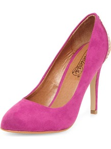Timeless Pink Caged Heel Pointed Courts - predominant colour: hot pink; secondary colour: gold; occasions: evening, occasion; material: faux leather; heel height: high; heel: stiletto; toe: round toe; style: courts; finish: plain; pattern: plain; embellishment: chain/metal