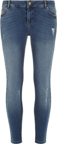 Mid Wash Ankle Grazer Jean - style: skinny leg; pattern: plain; pocket detail: traditional 5 pocket; waist: mid/regular rise; predominant colour: denim; occasions: casual; length: ankle length; fibres: cotton - 100%; jeans detail: whiskering, shading down centre of thigh; texture group: denim; pattern type: fabric