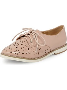 Nude Laser Cut Lace Up Brogues - predominant colour: nude; occasions: casual, work; material: faux leather; heel height: flat; toe: round toe; style: brogues; finish: patent; pattern: patterned/print