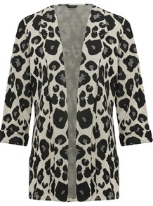 Women's Cropped Sleeve Giraffe Animal Print Jersey Blazer - style: single breasted blazer; collar: shawl/waterfall; length: below the bottom; predominant colour: light grey; secondary colour: black; occasions: casual, evening, work; fit: tailored/fitted; fibres: polyester/polyamide - stretch; sleeve length: long sleeve; sleeve style: standard; collar break: low/open; pattern type: fabric; pattern size: big & busy; pattern: animal print; texture group: other - light to midweight