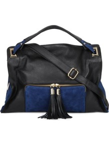 Absinthe Shoulder Bag - secondary colour: royal blue; predominant colour: black; occasions: casual, evening, work; type of pattern: standard; style: shoulder; length: shoulder (tucks under arm); size: standard; material: leather; embellishment: tassels; finish: plain; pattern: colourblock
