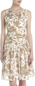 Abigail Floral Print Dress - sleeve style: sleeveless; waist detail: fitted waist; predominant colour: white; secondary colour: gold; occasions: evening, occasion; length: just above the knee; fit: fitted at waist &amp; bust; style: fit &amp; flare; fibres: cotton - mix; neckline: crew; sleeve length: sleeveless; texture group: cotton feel fabrics; pattern type: fabric; pattern size: big &amp; busy; pattern: florals