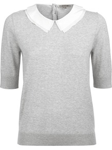Cotton Silk Collar Sweater - pattern: plain; style: standard; secondary colour: white; predominant colour: light grey; occasions: casual, work; length: standard; fibres: cotton - mix; fit: standard fit; neckline: no opening/shirt collar/peter pan; sleeve length: half sleeve; sleeve style: standard; texture group: knits/crochet; pattern type: knitted - fine stitch