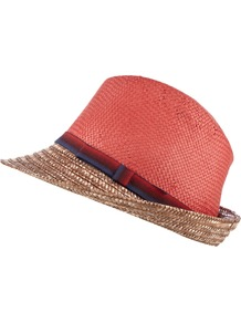 Chicago Trilby - predominant colour: coral; secondary colour: tan; occasions: casual, holiday; type of pattern: light; style: trilby; size: standard; material: macrame/raffia/straw; pattern: colourblock
