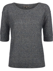 Linen Tweed Short Sleeve Sweater - neckline: round neck; style: standard; pattern: herringbone/tweed; predominant colour: royal blue; occasions: casual, work; length: standard; fibres: linen - 100%; fit: standard fit; sleeve length: half sleeve; sleeve style: standard; texture group: knits/crochet; pattern type: knitted - fine stitch