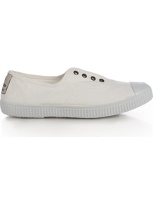 Victoria Plimsolls - predominant colour: white; occasions: casual, holiday; material: fabric; heel height: flat; toe: round toe; style: trainers; finish: plain; pattern: plain