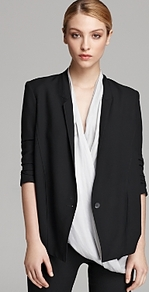 Helmut Blazer Slouchy Suiting - pattern: plain; style: single breasted tuxedo; collar: standard lapel/rever collar; predominant colour: black; occasions: evening, work, occasion; length: standard; fit: tailored/fitted; sleeve length: 3/4 length; sleeve style: standard; collar break: low/open; pattern type: fabric; texture group: woven light midweight; fibres: viscose/rayon - mix