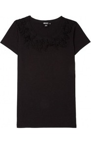 Scoopneck Silk Petal T Shirt - neckline: round neck; pattern: plain; bust detail: added detail/embellishment at bust; style: t-shirt; predominant colour: black; occasions: casual; length: standard; fibres: cotton - 100%; fit: body skimming; sleeve length: short sleeve; sleeve style: standard; pattern type: fabric; texture group: jersey - stretchy/drapey