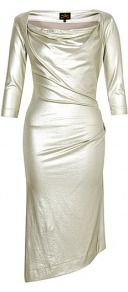 Dahlia Draped Metallic Jersey Dress - pattern: plain; hip detail: fitted at hip; bust detail: ruching/gathering/draping/layers/pintuck pleats at bust; predominant colour: champagne; occasions: evening, occasion; length: just above the knee; fit: body skimming; style: asymmetric (hem); neckline: scoop; fibres: viscose/rayon - stretch; sleeve length: 3/4 length; sleeve style: standard; trends: metallics; pattern type: fabric; texture group: jersey - stretchy/drapey