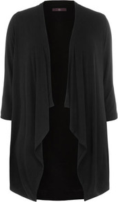 Black Jersey Cover Up - pattern: plain; neckline: waterfall neck; length: below the bottom; style: open front; predominant colour: black; occasions: casual; fibres: viscose/rayon - stretch; fit: loose; sleeve length: 3/4 length; sleeve style: standard; pattern type: fabric; texture group: jersey - stretchy/drapey