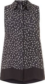 Grey Petal Print Sleeveless Shirt - neckline: shirt collar/peter pan/zip with opening; sleeve style: sleeveless; length: below the bottom; style: shirt; predominant colour: charcoal; occasions: casual; fibres: viscose/rayon - 100%; fit: straight cut; sleeve length: sleeveless; texture group: crepes; pattern type: fabric; pattern size: small & busy; pattern: patterned/print