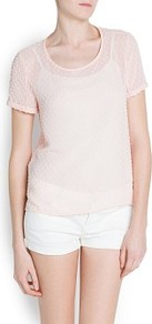 Plumeti Blouse - neckline: round neck; pattern: plain; style: blouse; predominant colour: blush; occasions: casual; length: standard; fibres: polyester/polyamide - 100%; fit: straight cut; sleeve length: short sleeve; sleeve style: standard; texture group: sheer fabrics/chiffon/organza etc.; pattern type: fabric
