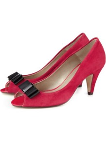 Suede Bow Peep Toe Court Shoes - predominant colour: hot pink; occasions: evening; material: suede; heel height: mid; heel: cone; toe: open toe/peeptoe; style: courts; finish: plain; pattern: plain; embellishment: bow