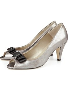 Leather Bow Peep Toe Court Shoes - predominant colour: silver; occasions: evening; material: leather; heel height: mid; heel: kitten; toe: open toe/peeptoe; style: courts; finish: metallic; pattern: plain; embellishment: bow