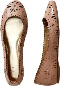 Patent Perforated Flats - predominant colour: taupe; secondary colour: taupe; occasions: casual, work, holiday; material: leather; heel height: flat; toe: round toe; style: ballerinas / pumps; finish: patent; pattern: florals
