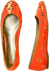 Patent Perforated Flats - predominant colour: bright orange; occasions: casual, work, holiday; material: leather; heel height: flat; toe: round toe; style: ballerinas / pumps; finish: patent; pattern: florals
