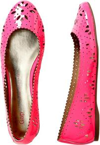 Patent Perforated Flats - predominant colour: hot pink; occasions: casual, holiday; material: leather; heel height: flat; toe: round toe; style: ballerinas / pumps; trends: fluorescent; finish: patent; pattern: florals