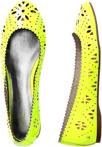 Patent Perforated Flats - predominant colour: yellow; occasions: casual, work, holiday; material: leather; heel height: flat; toe: round toe; style: ballerinas / pumps; trends: fluorescent; finish: patent; pattern: florals