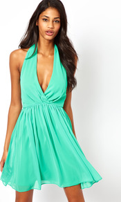 Skater Dress With Sexy Halter Neck - length: mid thigh; neckline: plunge; fit: fitted at waist; pattern: plain; sleeve style: sleeveless; style: blouson; waist detail: fitted waist; back detail: low cut/open back; bust detail: ruching/gathering/draping/layers/pintuck pleats at bust; predominant colour: mint green; secondary colour: mint green; occasions: evening, occasion; fibres: polyester/polyamide - 100%; hip detail: ruching/gathering at hip; sleeve length: sleeveless; texture group: sheer fabrics/chiffon/organza etc.; pattern type: fabric