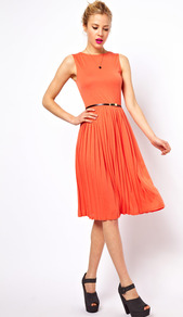 Sleeveless Midi Dress With Pleated Skirt And Belt - length: below the knee; pattern: plain; sleeve style: sleeveless; waist detail: belted waist/tie at waist/drawstring; predominant colour: bright orange; occasions: casual, evening, work; fit: fitted at waist &amp; bust; style: fit &amp; flare; fibres: polyester/polyamide - 100%; neckline: crew; hip detail: structured pleats at hip; sleeve length: sleeveless; texture group: sheer fabrics/chiffon/organza etc.; trends: volume; pattern type: fabric
