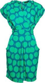 Closet Big Spot Dress - style: faux wrap/wrap; neckline: v-neck; sleeve style: dolman/batwing; fit: fitted at waist; waist detail: fitted waist; secondary colour: royal blue; predominant colour: emerald green; occasions: casual, work; length: just above the knee; fibres: polyester/polyamide - 100%; hip detail: sculpting darts/pleats/seams at hip; sleeve length: short sleeve; trends: statement prints; bust detail: tiers/frills/bulky drapes/pleats; pattern type: fabric; pattern size: big & busy; pattern: patterned/print; texture group: other - light to midweight