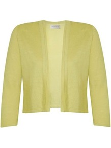 Double Edge Cardigan - pattern: plain; style: bolero/shrug; length: cropped; neckline: collarless open; predominant colour: primrose yellow; occasions: casual, occasion, holiday; fibres: cotton - 100%; fit: slim fit; sleeve length: 3/4 length; sleeve style: standard; texture group: knits/crochet; pattern type: knitted - other