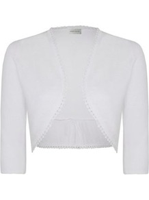 Back Gather Cardigan - pattern: plain; style: bolero/shrug; length: cropped; neckline: collarless open; predominant colour: white; occasions: casual, evening, occasion, holiday; fibres: linen - mix; fit: slim fit; sleeve length: 3/4 length; sleeve style: standard; texture group: knits/crochet; pattern type: knitted - fine stitch