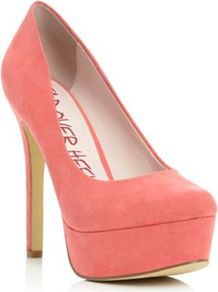 Pink Micro Fibre Bewitched High Heeled Platform Court Shoe - predominant colour: pink; occasions: evening, occasion; material: suede; heel: stiletto; toe: round toe; style: courts; finish: plain; pattern: plain; heel height: very high