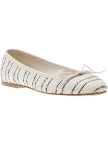 Woven Striped Flat - predominant colour: white; secondary colour: navy; occasions: casual, holiday; material: fabric; heel height: flat; toe: round toe; style: ballerinas / pumps; finish: plain; pattern: striped