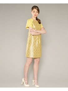 Fearne Shift Dress - style: shift; neckline: round neck; shoulder detail: contrast pattern/fabric at shoulder; predominant colour: yellow; secondary colour: mustard; occasions: evening, work, occasion; length: just above the knee; fit: soft a-line; fibres: polyester/polyamide - mix; sleeve length: short sleeve; sleeve style: standard; trends: glamorous day shifts; pattern type: fabric; pattern size: small &amp; busy; pattern: patterned/print; texture group: brocade/jacquard