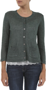 Verse Linen Cardigan - neckline: round neck; pattern: plain; bust detail: buttons at bust (in middle at breastbone)/zip detail at bust; predominant colour: dark green; occasions: casual; length: standard; style: standard; fibres: linen - 100%; fit: standard fit; waist detail: front pockets at waist level; sleeve length: 3/4 length; sleeve style: standard; texture group: knits/crochet; pattern type: knitted - other