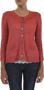 Verse Linen Cardigan - neckline: round neck; pattern: plain; bust detail: buttons at bust (in middle at breastbone)/zip detail at bust; predominant colour: terracotta; occasions: casual; length: standard; style: standard; fibres: linen - 100%; fit: standard fit; waist detail: front pockets at waist level; sleeve length: long sleeve; sleeve style: standard; texture group: knits/crochet; pattern type: knitted - other