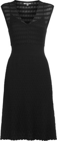 Geo Pointelle Knit Dress - style: shift; length: mid thigh; neckline: low v-neck; sleeve style: capped; pattern: plain; predominant colour: black; occasions: casual; fit: body skimming; fibres: acrylic - 100%; sleeve length: sleeveless; texture group: knits/crochet; pattern type: knitted - big stitch
