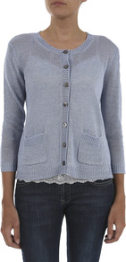Verse Linen Cardigan - neckline: round neck; pattern: plain; bust detail: buttons at bust (in middle at breastbone)/zip detail at bust; predominant colour: pale blue; occasions: casual; length: standard; style: standard; fibres: linen - 100%; fit: standard fit; waist detail: front pockets at waist level; sleeve length: 3/4 length; sleeve style: standard; texture group: cotton feel fabrics; pattern type: fabric