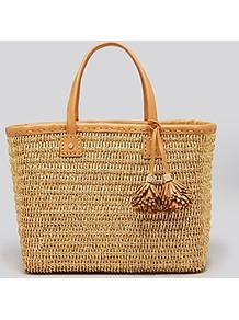 Tote Chunky Straw - predominant colour: stone; occasions: casual, holiday; style: tote; length: shoulder (tucks under arm); size: standard; material: macrame/raffia/straw; pattern: plain; finish: plain