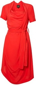 Daisy Silk Self Belt Dress - style: shift; neckline: cowl/draped neck; fit: fitted at waist; pattern: plain; waist detail: belted waist/tie at waist/drawstring; bust detail: ruching/gathering/draping/layers/pintuck pleats at bust; predominant colour: coral; occasions: casual, evening, work, occasion; length: on the knee; fibres: viscose/rayon - 100%; hip detail: soft pleats at hip/draping at hip/flared at hip; shoulder detail: flat/draping pleats/ruching/gathering at shoulder; sleeve length: short sleeve; sleeve style: standard; pattern type: fabric; texture group: jersey - stretchy/drapey