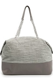 Touch Lurex Bouclé Tote Bag - secondary colour: ivory; predominant colour: mid grey; occasions: casual, work; type of pattern: standard; style: tote; length: handle; size: standard; material: fabric; pattern: herringbone/tweed; finish: plain; embellishment: chain/metal